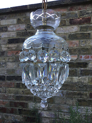 Beautiful Cut Glass And Lead Crystal Vintage  Chandelier