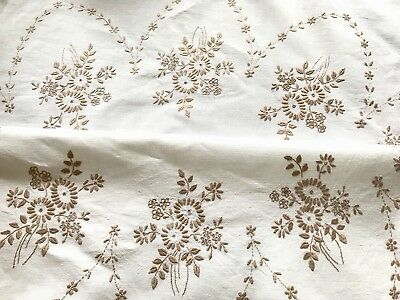VINTAGE HAND EMBROIDERED TAUPE & OFF WHITE LINEN TABLECLOTH 50X51 Inches