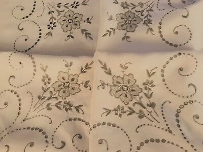Vintage Hand Embroidered CUTWORK Off White Linen Tablecloth 42x43 Inches