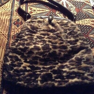 Vintage 60s faux fur handbag with leather handle and trim