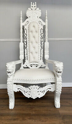 Lion King Throne Chair - French White Frame with White Faux Leather