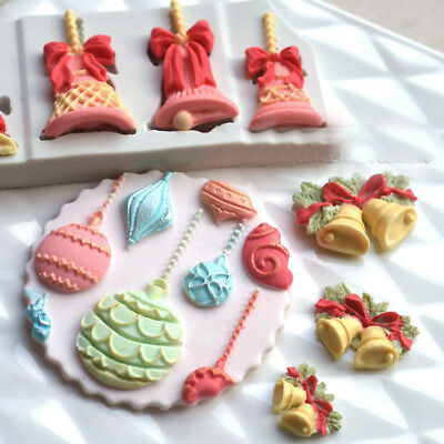XMAS Bells Ball Silicone Fondant Cake Decorating Mold Chocolate Sugarcraft Mould