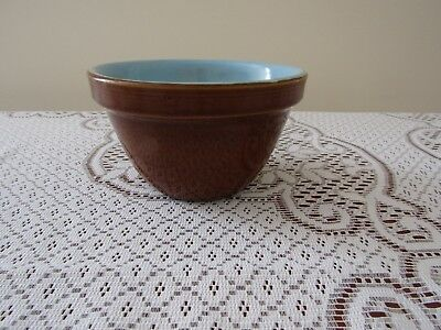 """Hand thrown POTTERY BOWL, 3"""" high, 5¼"""" wide,holds 500ml(18 fl.oz.) Brown & Blue"""
