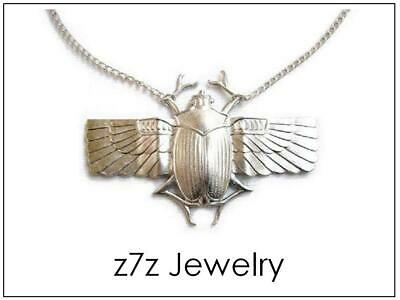 """WINGED SCARAB Necklace - 2 3/4"""" wings pendant egypt ancient aliens unisex z7qq"""
