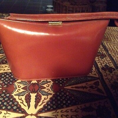 Vintage 40s/50s brown leather handbag