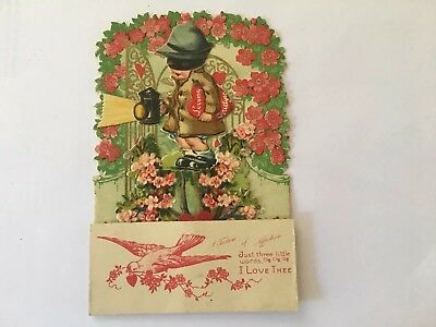 Early Vintage Valentine's Day Pop Out Stand Up Card Unused