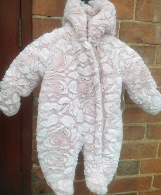 Gorgeous MOTHERCARE Girls Snowsuit 0-3 Mths NEW With Tag (Cost £32) Baby Gift