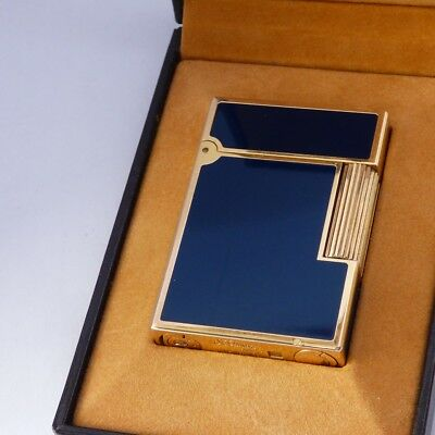 ST Dupont Line 2 Small Lighter - Blue Laque de Chine - Gold Plated Trim - Boxed
