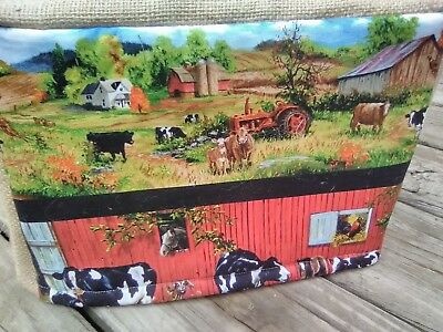 Toaster Cover Rustic Barnyard Burlap Fabric Quilted 2 Slice Cows Barn