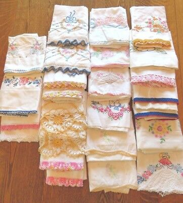 Vintage Lot of 25 Hand Embroidered Crocheted Pillowcases
