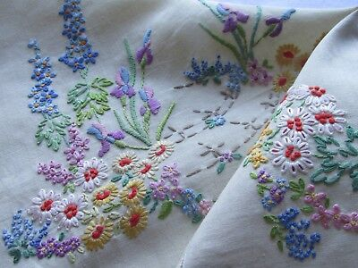 Vintage Hand Embroidered Tray cloth Panel-BEAUTIFUL RAISED FLORAL'S