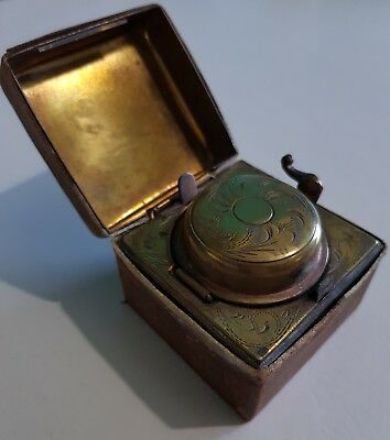 Vintage, Antique Leather-clad Brass travelling Inkwell, with Original Bottle