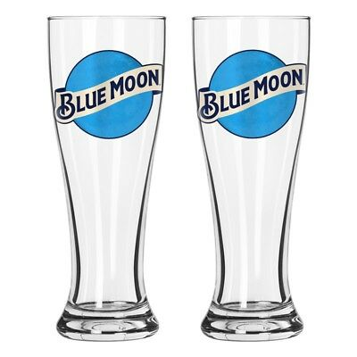 Blue Moon NEW Set of 2 Tall Blue Moon Beer Pub Pilsner Glasses 16 Oz