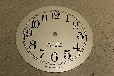 """New Old Stock M. Low Heavy Brass Silvered Clock Dial 7"""" with 5 3/4"""" Chapter Ring"""