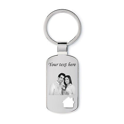 Metal Personalised House Keyring Keychain Photo Engraved Gift Birthday Love Box!