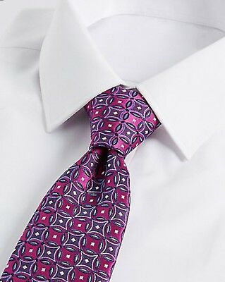 New M&s Luxury Mens Gents Hand Finished Fine Silk Geometric Pattern Purple Tie