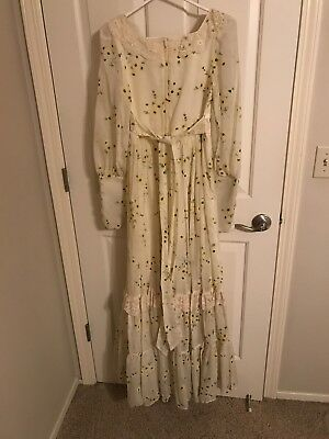 Vintage Gunne Sax by Jessica Full Length Long Sleeve Cream Floral Dress Size 7