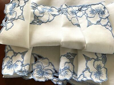 Vintage Hand Embroidered Cutwork Blue White Linen Table Cloth 41X41 Inches