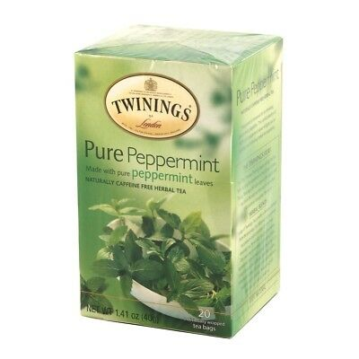 TWININGS PURE PEPPERMINT  HERBAL TEA BAGS 1x20 1 BOX CAFFEINE FREE