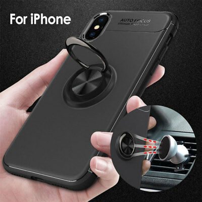For iPhone XS Max X 6 7 8 Plus Ring Shockproof Protective Rugged TPU Case Cover
