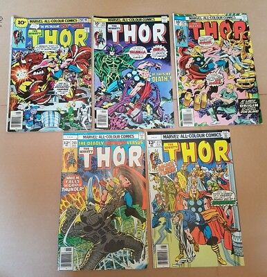 Marvel 5 comic lot The Mighty Thor 250, 251, 254, 265, 274 VG UK price variants