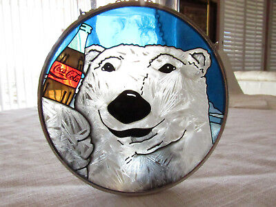 "Suncatcher  polar bear with Cocoa Cola, on chain, hand painted, 4.5"" diameter"