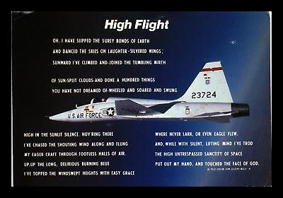 Dr Jim Stamps Us Air Force Military Plane High Flight Continental Size Postcard