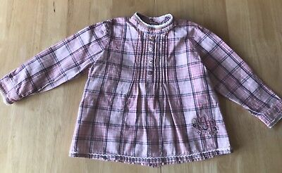 GIRLS PINK CHECK LONG SLEEVE TOP by MAMAS & PAPAS - Age 18-23 Month