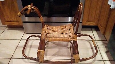 Antique Vintage Franco Albini Wicker Bamboo Rattan Child Rocking Horse toys iron