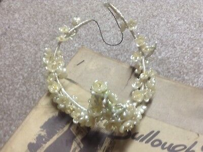 Antique wedding wax flowers tiara in original box from Bulloughs Carlisle