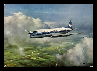 Dr Jim Stamps Klm Vickers Viscount Airplane Continental Size Postcard 1961