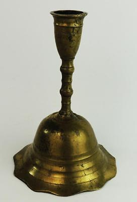 18Th Century Continental Antique Turned Brass Candlestick