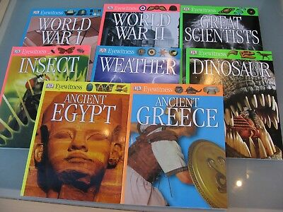 DK Eyewitness Set of 8 Books including World War I & II, Scientists, Weather