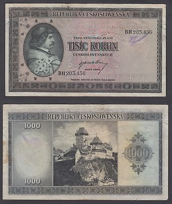 Czechoslovakia 1000 Korun 1945 (aVF) Condition Banknote P-65a Not Perforated