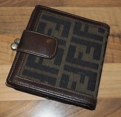 86d0a395a1ed FENDI WALLET PURSE Zucca Brown Black Woman unisex Authentic Used ...