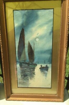 Vintage Pair Framed Original Watercolours Of Sailing Boats Signed By Artist