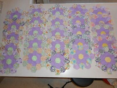 "LOT OF 81 VINTAGE  HEXAGON 11"" QUILT BLOCKS 1930-40's FLOWER GARDEN COLORS"