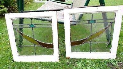 Pair Of Reclaimed Stained Glass Windows