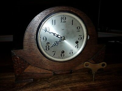 ENGLISH  dual chime Antique Mantel  Clock . spares or repair.Complete with key