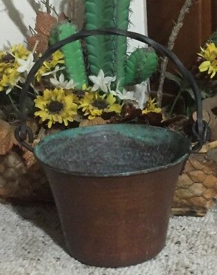 Vintage Hammered Copper/Metal Kettle Cauldron Bucket Pail Plant Holder Planter