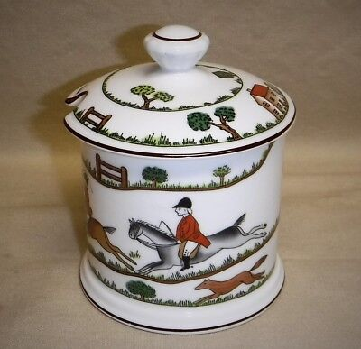 Crown Stafforshire ~ Hunting Scene ~ Jam / Jelly Jar ~ Excellent!