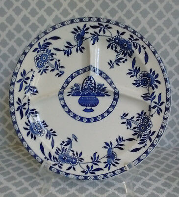 Antique Wood & Sons Blue & White DELPH Pattern Divided Grill Plate 1920s (#2)