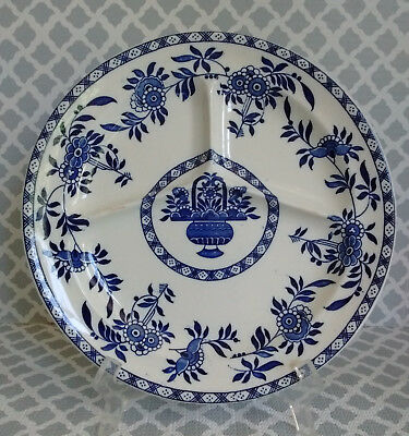 Antique Wood & Sons Blue & White DELPH Pattern Divided Grill Plate 1920s (#1)