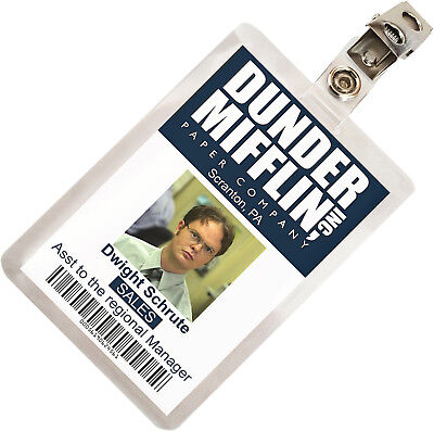 The Office Dwight Schrute Dunder Mifflin ID Badge Cosplay Costume Name Tag TO-1
