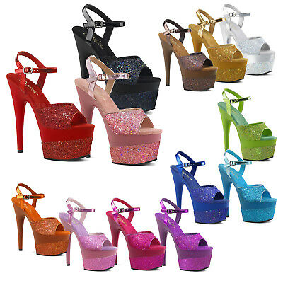 b6071868e PLEASER - Adore-709-2G Ankle Strap Sandal Featuring Glitter Wrapped  Platforms