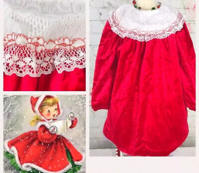 Vintage Girl Sz 5 Christmas Red Dress White Lace Big Collar Sweet Treats