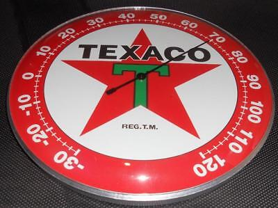 "Texaco  Star Thermometer 12"" Round Glass Dome Sign"