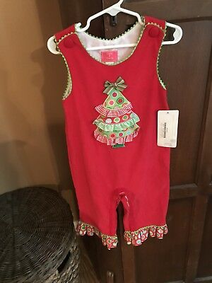 Claire and Charlie Girl Red Ruffled One Piece Longall Christmas Tree 24 Months