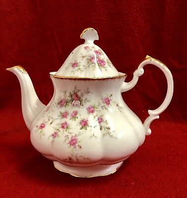 VTG Paragon Victoriana Rose Bone China Pink Roses Large Footed Teapot With Lid