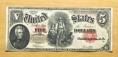 1907 WOODCHOPPER Note $5 Five Dollar Horse blanket Large Currency Red Seal